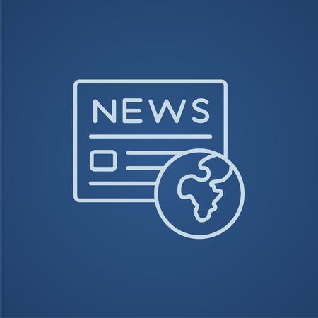 icône International de ligne de journaux pour le web, le mobile et infographies. icône bleue vecteur de lumière isolé sur fond bleu.