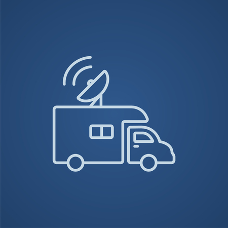 news van: Broadcasting van line icon for web, mobile and infographics. Vector light blue icon isolated on blue background.
