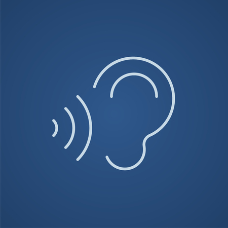 oscillation: Ear and sound waves line icon for web, mobile and infographics. Vector light blue icon isolated on blue background.