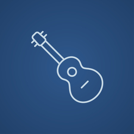 fret: Guitar line icon for web, mobile and infographics. Vector light blue icon isolated on blue background.