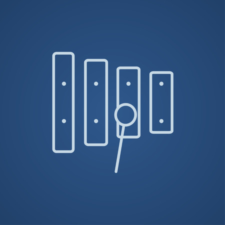 Xylophone with mallet line icon for web, mobile and infographics. Vector light blue icon isolated on blue background.