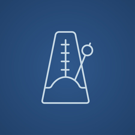 metronome: Metronome line icon for web, mobile and infographics. Vector light blue icon isolated on blue background.