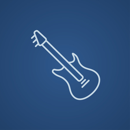strum: Electric guitar line icon for web, mobile and infographics. Vector light blue icon isolated on blue background.