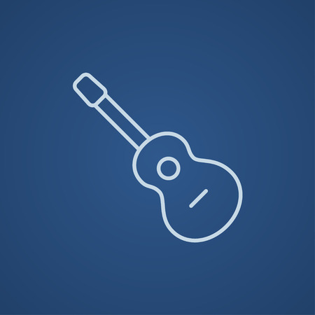 fret: Acoustic guitar line icon for web, mobile and infographics. Vector light blue icon isolated on blue background. Illustration