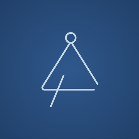 struck: Triangle line icon for web, mobile and infographics. Vector light blue icon isolated on blue background.