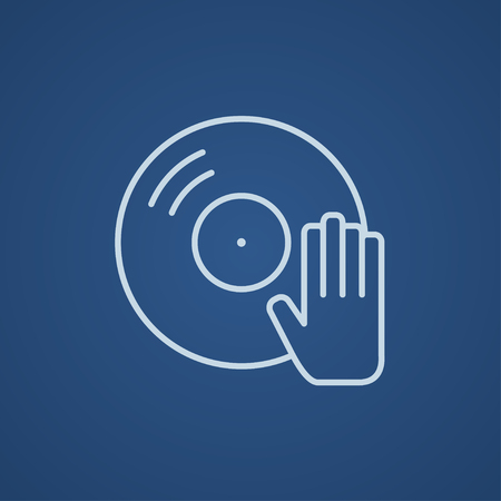 Disc with dj hand line icon for web, mobile and infographics. Vector light blue icon isolated on blue background.