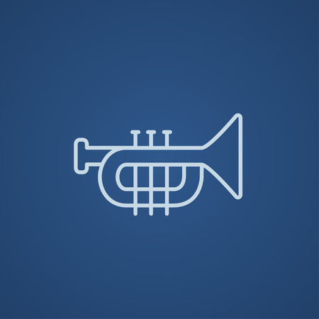 symphonic: Trumpet line icon for web, mobile and infographics. Vector light blue icon isolated on blue background.