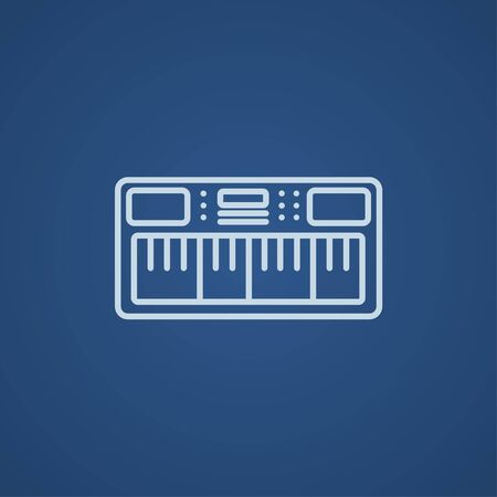 synthesizer: Synthesizer line icon for web, mobile and infographics. Vector light blue icon isolated on blue background.