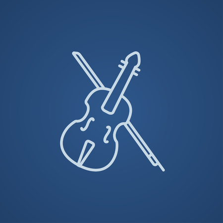 fiddlestick: Violin with bow line icon for web, mobile and infographics. Vector light blue icon isolated on blue background. Illustration