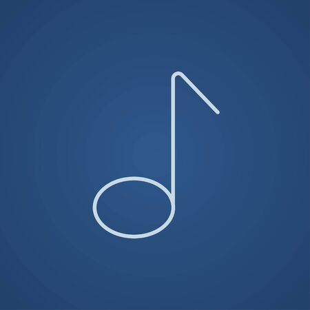 melodies: Music note line icon for web, mobile and infographics. Vector light blue icon isolated on blue background. Illustration