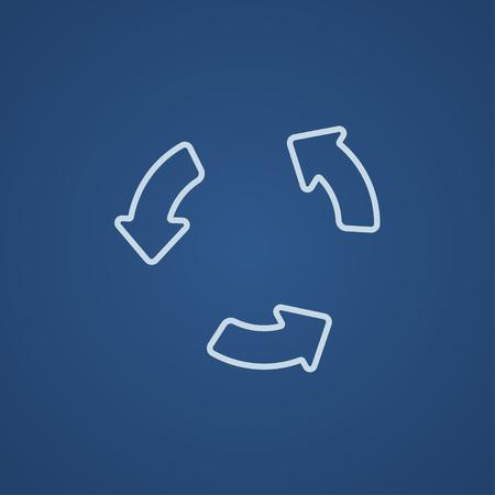 웹, 모바일 및 인포 그래픽을위한 재생 버튼 라인 아이콘. 파란색 배경에 고립 된 벡터 밝은 파란색 아이콘. 일러스트