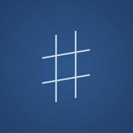 microblogging: Hashtag symbol line icon for web, mobile and infographics. Vector light blue icon isolated on blue background.