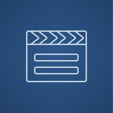 flick: Clapboard line icon for web, mobile and infographics. Vector light blue icon isolated on blue background.