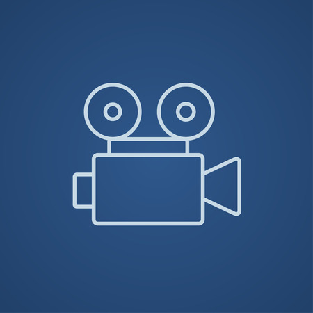 video reel: Video camera line icon for web, mobile and infographics. Vector light blue icon isolated on blue background.