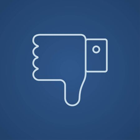 disapprove: Thumb down hand sign line icon for web, mobile and infographics. Vector light blue icon isolated on blue background. Illustration