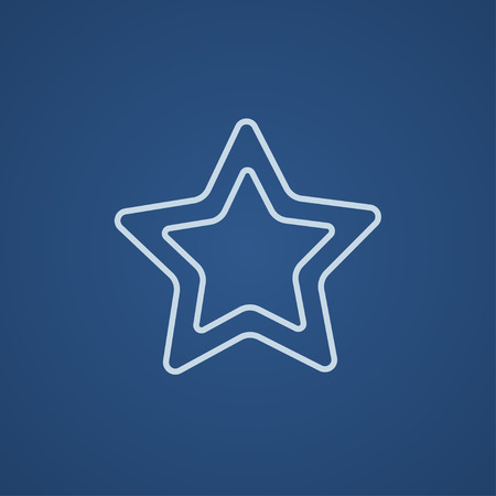 Rating star line icon for web, mobile and infographics. Vector light blue icon isolated on blue background.