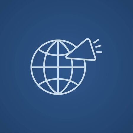 Globe with loudspeaker line icon for web, mobile and infographics. Vector light blue icon isolated on blue background. 向量圖像