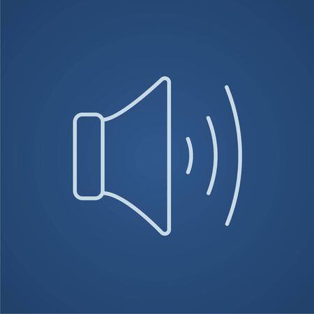 Speaker volume line icon for web, mobile and infographics. Vector light blue icon isolated on blue background. Illustration