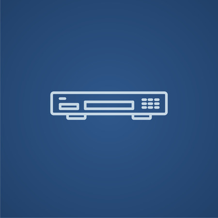 Video recorder line icon for web, mobile and infographics. Vector light blue icon isolated on blue background.
