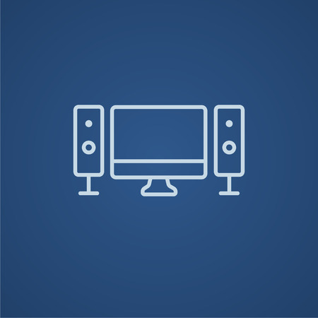 home cinema: Home cinema system line icon for web, mobile and infographics. Vector light blue icon isolated on blue background.
