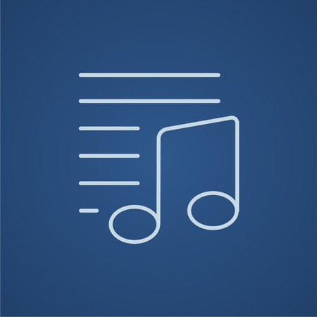 melodies: Musical note line icon for web, mobile and infographics. Vector light blue icon isolated on blue background.