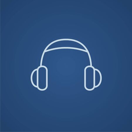 earpieces: Headphone line icon for web, mobile and infographics. Vector light blue icon isolated on blue background.