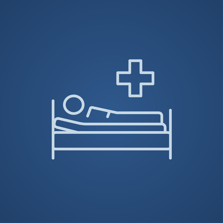lying on bed: Patient lying on the bed line icon for web, mobile and infographics. Vector light blue icon isolated on blue background. Illustration