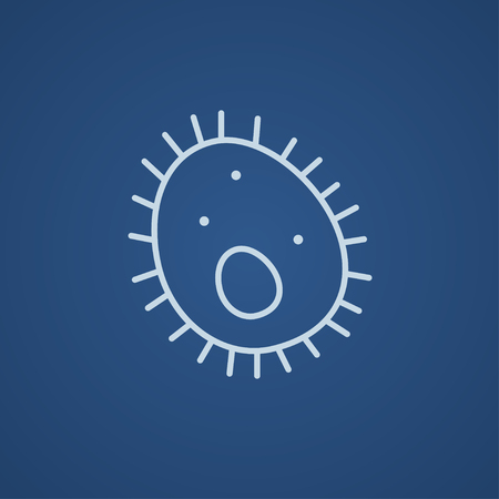 Bacteria line icon for web, mobile and infographics. Vector light blue icon isolated on blue background.