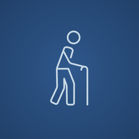 gerontology: Man walking with cane line icon for web, mobile and infographics. Vector light blue icon isolated on blue background.
