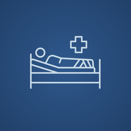 Patient lying on the bed line icon for web, mobile and infographics. Vector light blue icon isolated on blue background. Vettoriali
