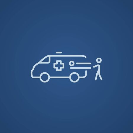 Man pushing stretchers with patient in ambulance car line icon for web, mobile and infographics. Vector light blue icon isolated on blue background. Vectores