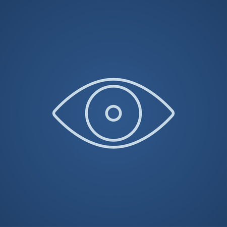 shortsighted: Eye line icon for web, mobile and infographics. Vector light blue icon isolated on blue background. Illustration