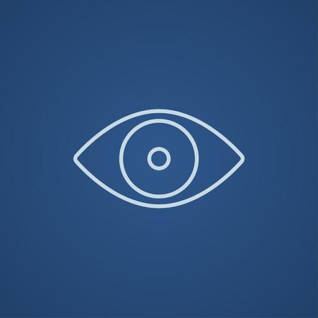 Web、モバイル、インフォ グラフィックの目のラインのアイコン。ベクトル ライト青アイコン青の背景に分離されました。  イラスト・ベクター素材