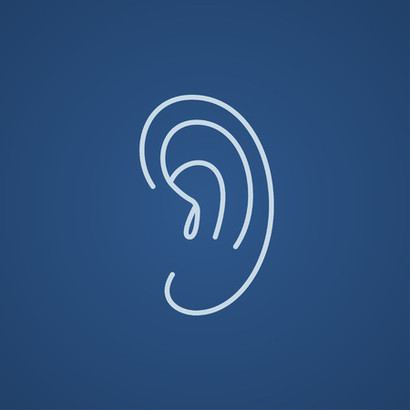 audible: Human ear line icon for web, mobile and infographics. Vector light blue icon isolated on blue background.