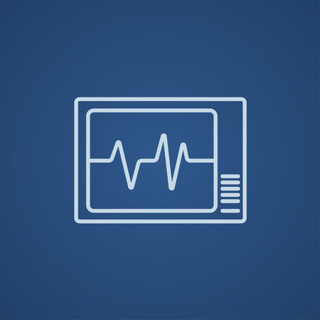 heart monitor: Heart monitor line icon for web, mobile and infographics. Vector light blue icon isolated on blue background.