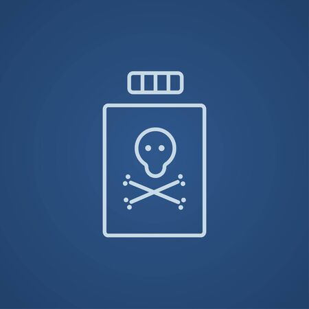 poison bottle: Bottle of poison line icon for web, mobile and infographics. Vector light blue icon isolated on blue background. Illustration
