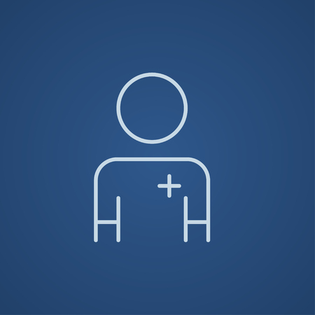 medico: Nurse line icon for web, mobile and infographics. Vector light blue icon isolated on blue background.