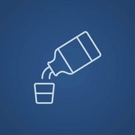 cough medicine: Medicine and measuring cup line icon for web, mobile and infographics. Vector light blue icon isolated on blue background. Illustration