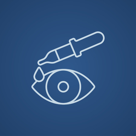 eye pipette: Pipette and eye line icon for web, mobile and infographics. Vector light blue icon isolated on blue background.