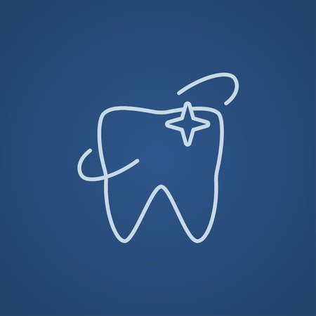 Shining tooth line icon for web, mobile and infographics. Vector light blue icon isolated on blue background.
