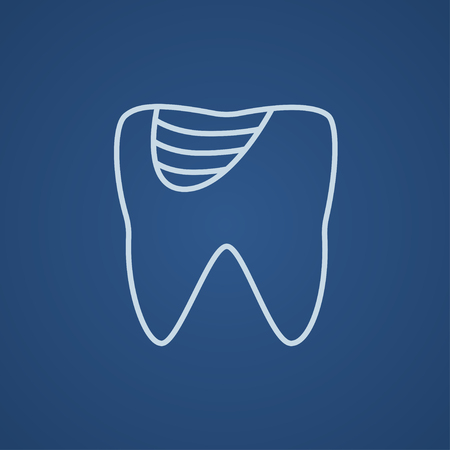 crumbling: Tooth decay line icon for web, mobile and infographics. Vector light blue icon isolated on blue background.