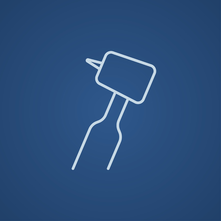 hygienist: Dental drill line icon for web, mobile and infographics. Vector light blue icon isolated on blue background.