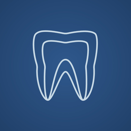 molar: Molar tooth line icon for web, mobile and infographics. Vector light blue icon isolated on blue background. Illustration