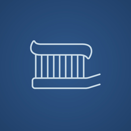 Web、モバイル、インフォ グラフィックの線アイコンを歯磨き粉と歯ブラシ。ベクトル ライト青アイコン青の背景に分離されました。
