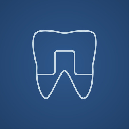 crowned: Crowned tooth line icon for web, mobile and infographics. Vector light blue icon isolated on blue background.