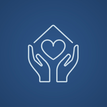hands holding house: Hands holding house symbol with heart shape line icon for web, mobile and infographics. Vector light blue icon isolated on blue background. Illustration