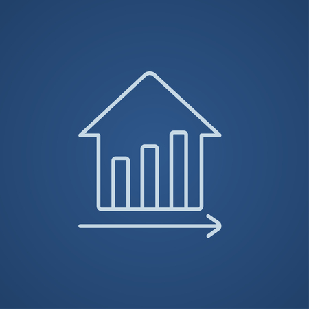 Graph of real estate prices growth line icon for web, mobile and infographics. Vector light blue icon isolated on blue background. Illustration