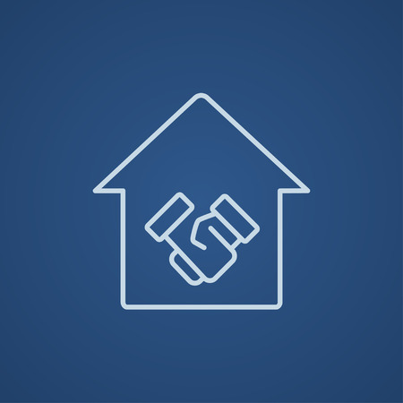 people icon: Handshake and successful real estate transaction line icon for web, mobile and infographics. Vector light blue icon isolated on blue background. Illustration