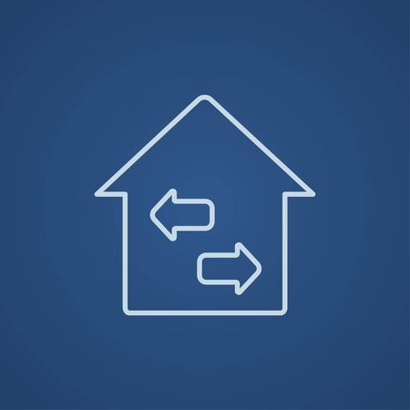 resale: Property resale line icon for web, mobile and infographics. Vector light blue icon isolated on blue background.
