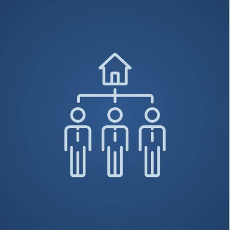 renter: Three real estate agents line icon for web, mobile and infographics. Vector light blue icon isolated on blue background.